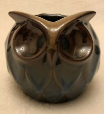 Owl Shaped Succulent Ceramic Planter Pot Vase Brown Glossy Finish Beautiful