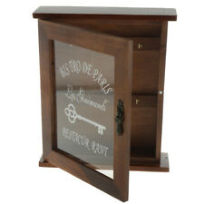 Pastoral Style Key Cabinet Wooden Key Holder Box with 6 Hooks-Brown