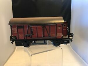 VINTAGE MARKLIN O GAUGE COVERED FREIGHT WAGON WITH BRAKE HUT ( VIGIE ) . VGC