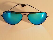 Ray Ban RB3026 62MM Aviator Unisex Sunglasses Black Frame/Ocean Blue Mirror Lens