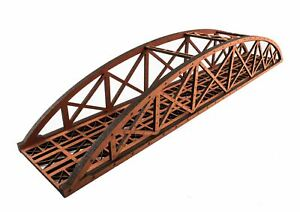 WWS Single Track Hi-Detail Red MDF Bowstring Bridge 560mm – OO/HO Model Railway