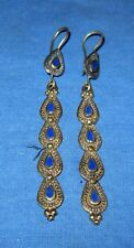 "Earrings Stick Lapis Afghan Kuchi Tribal Alpaca Silver 2"""
