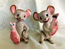 Vintage Anthropomorphic Moises with Pink fish  Salt & Pepper Shakers Japan