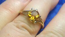 Estate Vintage 10k Yellow Gold Ring w Genuine Princess-cut Citrine!  Size 6!