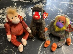 Ty Beanie Bag Babies Monkeys Lot Bananas Cheeks Schweetheart 1999-2000 MINT TAGS