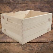 Large+ Unpainted Pine Wooden Storage Box With Handles Open Top Non-Lidded DIY