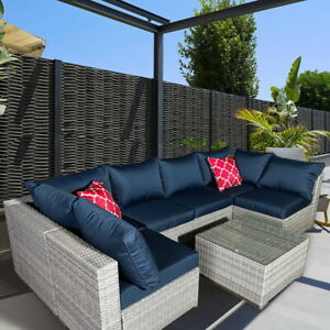 9 Pieces Outdoor Garden Rattan Sofa Lounge Set Couch Wicker Patio Table Chairs