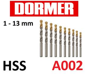 DORMER A002 HSS Tin Coated Jobber Drills - Metric - High Speed Steel Twist Bits