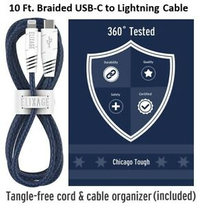 Elixage 10 Ft. Braided Charge/Sync USB-C to Lightning Cable - Blue/MFi Certified