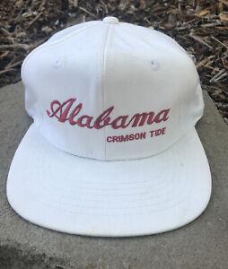vtg 90s alabama crimson tide script logo white snapback hat the game