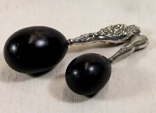 Antique Victorian Sterling Silver Handled Wooden Darning Eggs Set of 2