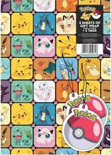 Pokemon Gift Wrap Wrapping Paper 2x Tags x2 Sheets