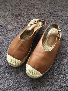 Next Ladies Faux Leather Tan Espadrilles Size 7