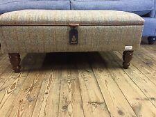 Large Harris Tweed Footstool Ottoman Bracken Bowmore Handmade
