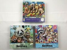 Lot of 3 CEACO 550 Piece Jigsaw Puzzle Lot Selfies Animals