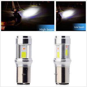 Motorcycle Headlight Bulbs BA20D Dual Colors LED COB Hi/Lo Lamp 6000 K Fog Light