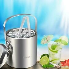 Homdox Ice Bucket Stainless Steel Ice Buckets Tongs,Double Wall Insulated Silver