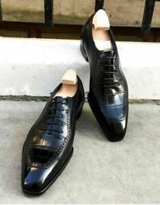 Mens Handmade Shoes Black Crocodile Patterned Leather Lace Up Formal Dress Boots