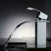Waterfall Bathroom Faucet Single Handle 1 Hole Chrome Bath Sink Faucet Mixer Tap