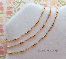 36 Inch Long Bright Gold Tube Beads Link Chain Necklace Extender Lobster Clasp