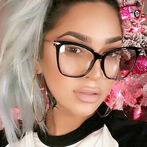 Women Oversized Cat Eye Glasses Clear Lense Hot Fashion Eyewear Eyeglasses UK
