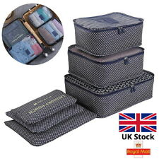 6PCS Set Luggage Organiser Suitcase Storage Bags Clothes Packing Travel Cubes