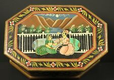 Vintage Octagon India Hand Painted Wooden Box Hinge Lid Raja Rani King Queen Vtg