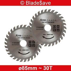 Flex Circular Saw Blade Fine Cut TCT 85mm x 15mm x 30T by KROP (2 Pack)