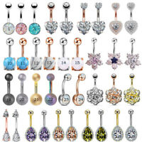 14G CZ Opal Navel Belly Button Ring Surgical Steel Barbell Body Piercing Jewelry