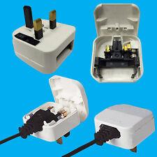 White, 2 Pin Euro to 5A UK 3 Pin Mains Fused Plug Converter Travel Adaptor
