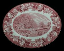 """Enoch Wood's Ware English Scenery Pink/Red Large Platter 16.5"""""""