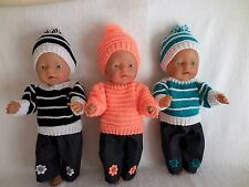 BABY BORN DOLLS CLOTHES BLACK,ORANGE OR TEAL HAND KNITTED OUTFIT SET