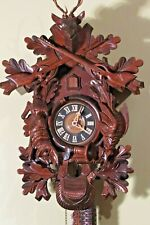 LARGE HUNTERS BLACK FOREST CUCKOO CLOCK RIFLE RABBIT DEER FOWL POST HORN REGULA