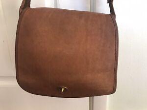 Vintage Coach 9525 Brown Leather Stewardess Shoulder Bag *DEFECT*