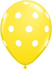 "10 pc - 11"" Qualatex Big Polka Dot Yellow Latex Balloon Party Decoration Baby"