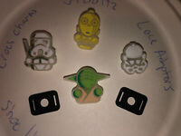 Glow In The Dark Star Wars Lot Of 6 Crocs Shoe Charms +Lace Adapters,Jibbitz
