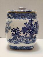 Vintage Mason's Ironstone Blue & White Porcelain Jar with Matching Lid