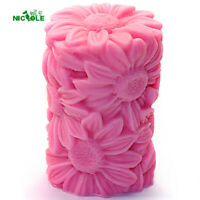 Sunflower Relief Cylinder Silicone Candle Mold DIY Handmade Soap Mould Craft