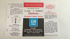 1961-1967 Chevrolet Impala GM Optikleen Bottle Decal Chevelle Corvette Nova