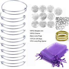 10PCS/Set Silver Tone Expandable Wire Bangle Letters Charms Gift Bags DIY KITS