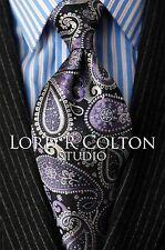 Lord R Colton Studio Tie - Navy & Purple Paisley Necktie - $95 Retail New