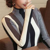 Korean Fashion Women Mock Neck Stripes Knitted Jumper Stretch OL Career Blouse