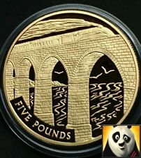 2006 ALDERNEY £5 Five Pound Steam Age Viaduct Silver & Gold Plated Proof Coin
