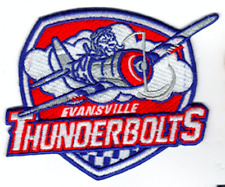 EVANSVILLE THUNDERBOLTS PATCH MINOR LEAGUE HOCKEY AVIATION SOUTH LEAGUE AIRPLANE