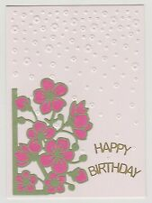 Blank Handmade Greeting Card ~ HAPPY BIRTHDAY with FLOWERS AND EMBOSSED FLOWERS
