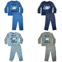 Boys Baby Toddlers Pyjamas Long Sleeve Top Bottom Set Nightwear PJs Space