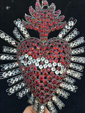 Coeur de MARIE EX VOTO Reliquaire  Heart of marries Strass Old RARE Reliquary