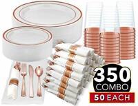 Rose Gold Dinnerware 50 Guest 350 PCS - Plates Napkins Cups - Complete Party Set