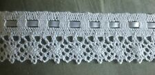 """Vintage White Cotton Cluny lace Trim 2 1/4"""" Wide With 1/4"""" Beading Ribbon 5 YDS."""