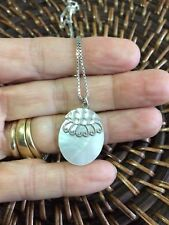 Genuine Sterling Silver 925 Oval Shaped White Mother Of Pearl Pendant Necklace